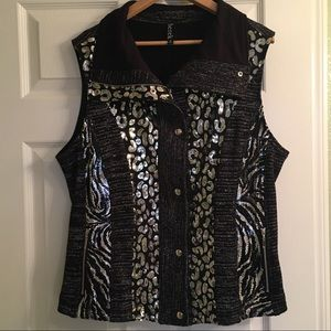 Berek Black Sequined Animal Print Sweater Vest